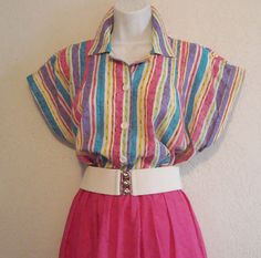 Bright Stripe Classic Boxy 1980s Blouse by kitschbitchvintage