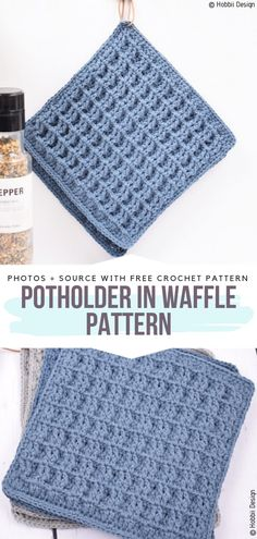 crochet potholder patterns Advertisements Waffle stitch is great for home accessories, because it creates surface. Potholder in Waffle Pattern uses this trick to make acce Crochet Hot Pads, Quick Crochet, Crochet Home, Crochet Kitchen, Beginner Crochet, Crochet Waffle Stitch, Single Crochet Stitch, Knitting Patterns Free, Free Pattern