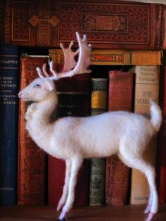 Needle felted white stag Christmas decoration Holiday centerpeice...made to order