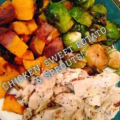 Post Turkey Day meal- Grilled chicken, sweet potatoes and sprouts!! YUMM!! #cleaneating #healthy #postmeal