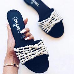 No photo description available. Chanel Slippers, Cute Slippers, Chanel Shoes, Cute Sandals, Cute Shoes, Me Too Shoes, Stylish Sunglasses, Shoe Art, Luxury Shoes