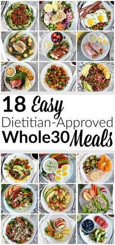 18 Easy Dietitian-Approved Meals In a rut? These 18 Easy Dietitian-Approved Meals will get you in and out of the kitchen fast so you can spend more time doing what you love. Whole 30 Menu, Whole 30 Meal Plan, Whole 30 Lunch, Whole 30 Diet, Paleo Whole 30, What Are Whole Foods, Whole Food Diet, Clean Eating Snacks, Clean Eating Recipes