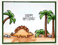 Frankie Helps Craft, Toni M Maddox, handmade birthday card, coloring, dinosaur, child