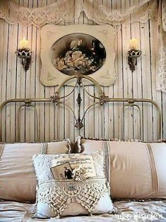 Antique Bedroom bedroom home vintage pretty bed wallpaper antique decorate ideas Lots of Shabby here at The Antique Gallery of Lewisville to help you achieve this look. (romantic look pillows) Shabby Chic Style, Shabby Chic Vintage, Bedroom Vintage, Shabby Chic Decor, Vintage Decor, Rustic Decor, Victorian Bedroom, Vintage Room, Rustic Charm