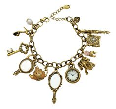 Vintage Fairytale Charms Cinderella Alice in Wonderland Narnia Style Novelty Chain Bangle Bracelet