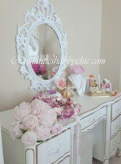 Shabby vanity dresser & accessories  #interior #bedroom