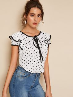 Product name: Polka Dot Piping Trim Blouse at SHEIN, Category: Blouses Pop Fashion, Fashion News, Fashion Outfits, Cap Sleeve Top, Blouse Online, Summer Shirts, Mode Inspiration, Models, Blouses For Women