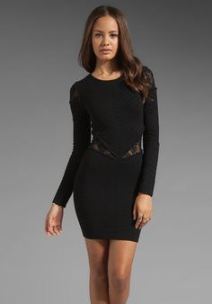 NWT Torn by Ronny Kobo Black Holly Knit Sheer Lace Insert Cut Out Dress S $270 #TornbyRonnyKobo #StretchBodycon #LittleBlackDress