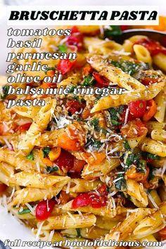 Pasta Recipes, Real Food Recipes, Free Recipes, Yummy Food, Italian Recipes, Italian Meals, Fresh Tomato Recipes, Easy Vegetarian Dinner, Grain Free