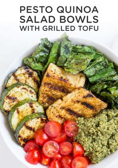 Pesto Quinoa Salad Bowls with Grilled Tofu Do you love QUINOA BOWLS? Pesto Quinoa Salad Bowls with Grilled Tofu make an easy, healthy, vegan/vegetarian and gluten-free lunch or dinner recipe! Healthy Dinner Recipes, Healthy Snacks, Vegetarian Recipes, Vegan Vegetarian, Fast Recipes, Vegan Meals, Diabetic Recipes, Beef Recipes, Quinoa Bowl