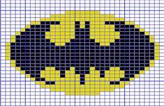 Ravelry: Mini Batman Logo Chart pattern by Elizabeth Thomas. 31 stitches wide by 24 stitches tall. Mini Cross Stitch, Cross Stitch Charts, Cross Stitch Designs, Cross Stitch Patterns, Knitting Charts, Baby Knitting, Knitting Patterns, Batman Logo, Pixel Crochet
