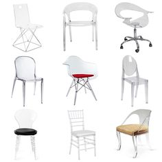 The best acrylic chairs. From top left: Now You See It acrylic desk chair, $179, Land of Nod. Allegra acrylic clear chair, $149, Advanced Interior Designs. Lumisource acrylic Rumor chair, $163.19, Target. Modway Furniture Scape dining chair, $151.95, Bellacor. Clear acrylic molded arm chair, $124.99, Dot and Bo. Ghost side chair, $84, The Classy Home. Control Brand Johan side chair, $216.60, Wayfair. Safavieh Carly side chair, $141.49, Wayfair. Timothy Whealon Klismos chair, $2,299, One ...
