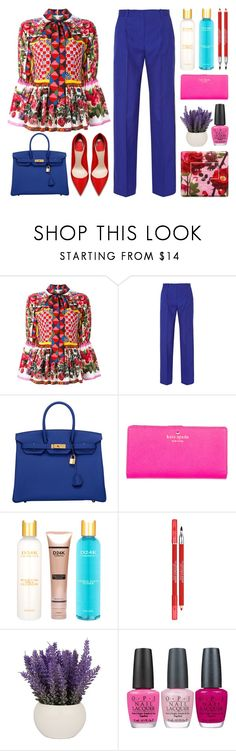 """""""Flower Power"""" by stavrolga ❤ liked on Polyvore featuring Dolce&Gabbana, Jonathan Saunders, Hermès, Kate Spade, D24K Cosmetics, Lancôme, OPI and Jo Malone"""
