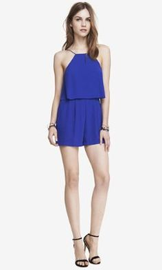 BLUE DOUBLE LAYER CAMI ROMPER from EXPRESS