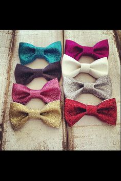 Glitter Hair Bows by dejavucrafts on Etsy