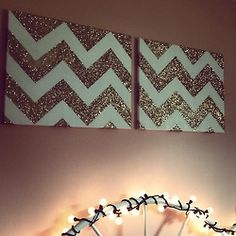 chevron glitter wall art
