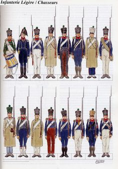 French Light Infantry, Chasseurs,  1814.  Click and double click to ENLARGE.