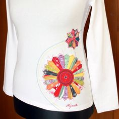 Hand-painted T-shirt with Appliqué-Patchwork II.hand by Aryonelle
