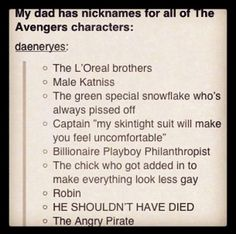Nicknames for the Avengers