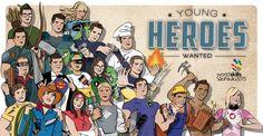 Für die Berufsweltmeisterschaft in SAO PAOLO - BRASILIEN entstand die illustrierte Kampagne YOUNG HEROES WANTED. Mehr unter: www.rotwild.it/blog Web Design, Comic Books, Hero, Comics, Cover, Blog, Italia, Brazil, Design Web