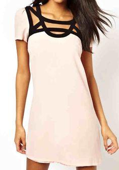 Light Pink Plain Short Sleeve Mini Dress