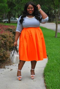 Musings of a Curvy Lady, Plus Size Fashion, Plus Size Blogger, Fashion Blogger, Tangerine Dream, Midi Skirt, Midi Moment, Eloquii, #XOQ, Pink Clubwear, Embellished Sweatshirt, ShoeDazzle, Wedges,  Grey and Orange, Bella Dream Hair, Women's Fashion