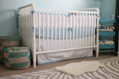 Beautiful And Cute Jenny Lind Baby Cribs Collection : Dazzling White Paint Wood Baby Crib Design in Turquoise Wall Painting Baby Room with Homemade Storage Basket