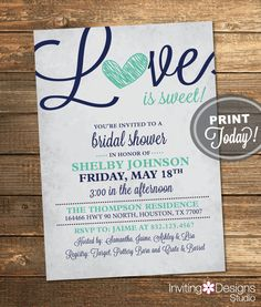 Bridal Shower Invitation, Love is Sweet, Heart, Navy Blue, Mint Green, Rustic, Sweet, Candy, Printable File (Custom Order, INSTANT DOWNLOAD) von InvitingDesignStudio auf Etsy https://www.etsy.com/de/listing/196140720/bridal-shower-invitation-love-is-sweet