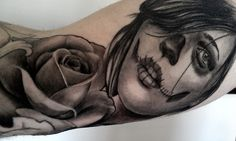 day of the dead girl with rose