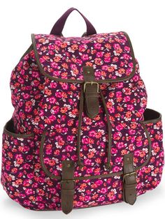 """This Epic """"Harry Potter"""" Backpack Comes With a Replica of Harry's Wand Instead of a Handle Add a floral twist to your look with this backpack! Floral Backpack, Backpack Purse, Puppy Backpack, Mk Purse, Cute Backpacks, School Backpacks, Teen Backpacks, Leather Backpacks, Leather Bags"""