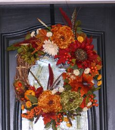 Fall Floral Wreath by hgab129 on Etsy, $65.00