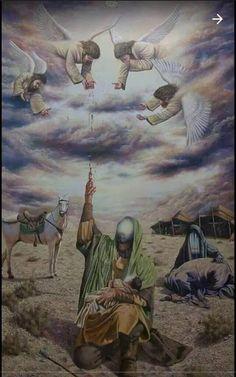 استشهاد عبد الله الرضيع ورمي دمه الطاهر الى السماء فلم تسقط اي قطرة منه الى الارض السلام على الحسين وعلى اولاد الحسين