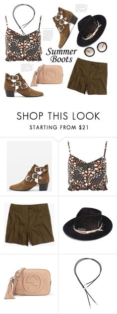 """""""Summer Boho Booties"""" by badassbabyboomer ❤ liked on Polyvore featuring Topshop, Madewell, Nick Fouquet, Gucci, Pamela Love, Miu Miu and summerbooties"""