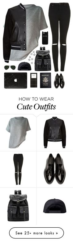 """""""Tomboy outfit"""" by genesis129 on Polyvore featuring rag & bone, Burberry, Topshop, Ray-Ban, Black Scale and Passport"""