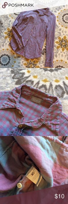 CLOSET CLEAROUT! American Made Flannel Shirt Shirt! Purple Flannel. American made. Good used condition - has been loved but no noticeable flaws. Smoke free home :) ask questions, make a reasonable offer. And bundle bundle bundle! Tops Button Down Shirts