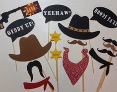 Printable Cowboy Party Photo Booth Props by TracyDigitalDesign