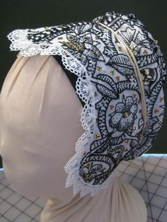Elizabethan blackwork hand embroidered coif