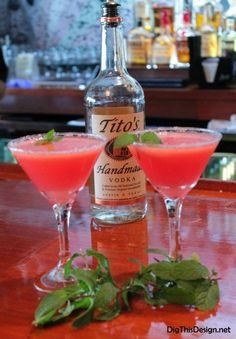 Very simple and natural watermelon mint vodka martini recipe