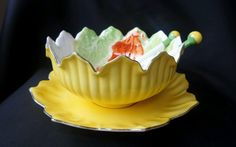 This is an exquisite Noritake lustreware Art Deco yellow handpainted Crab salad bowl in the lotus shape complete with underplate & original servers. The handpainting of the crab and lettuce leaves inside the bowl and on the servers are very bright. | eBay!