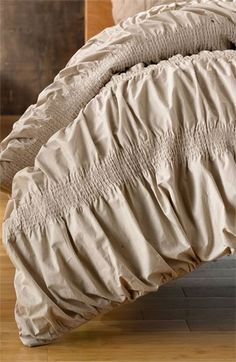 Smocked Duvet Cover in 'Grey Feather' Tan Color - Nordstroms