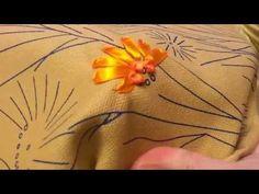 "Уроки по вышивке лентами - Шов ""французкий узелок"" - YouTube"