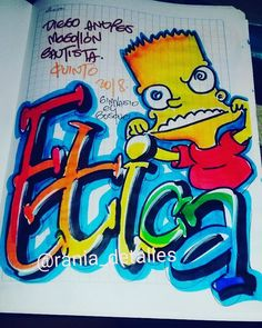 #marcamostuscuadernos - rania_detalles My Notebook, Bart Simpson, Letters, Education, My Love, Character, Activities, Sketchbook Cover, Decorated Notebooks