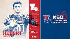 La Tech Louisiana Tech, Player Card, Sports Graphics, Sports Images, Editorial Layout, St Thomas, Ad Design, Graphic Design Inspiration, College Football