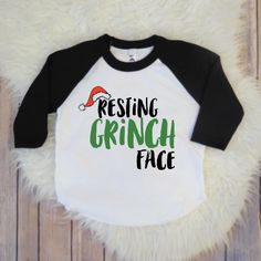 Funny Kids Christmas Black Raglan Sleeve Baseball Shirt, Cute Kids Clothing, Girls Clothing, Boys Clothing, Grinch Shirt by KyCaliDesign on Etsy https://www.etsy.com/listing/488340557/funny-kids-christmas-black-raglan-sleeve