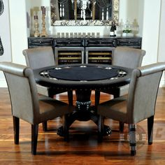 """Nighthawk 6 Piece Poker Dining Table Set with Lounge Chairs   Wayfair $2,245.00 table, 4 chairs, and dining top, with red, blue, or green poker top. Seats 8; 57"""" in diameter + chairs."""