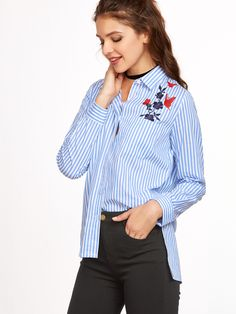 Shop Blue Vertical Striped Side Slit Embroidered High Low Blouse online. SheIn offers Blue Vertical Striped Side Slit Embroidered High Low Blouse & more to fit your fashionable needs.