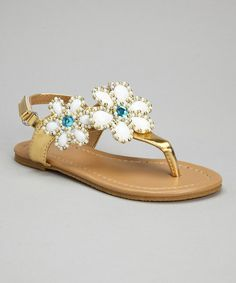 Another great find on #zulily! Gold Bead Flower Sandal by Chatties #zulilyfinds