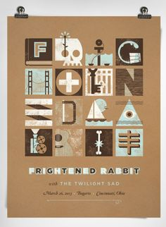 Frightened Rabbit gig posters designed by Charlie Wagers