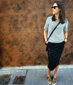 midi skirt sneakers - Google Search                                                                                                                                                                                 More