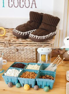 hot cocoa bar featuring a buffet of creative mix-ins for guests to choose from – like chocolate chips, butterscotch chips, Reese's peanut butter cups, rock candy stir sticks, etc.